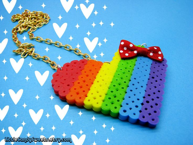 Rainbow Love Heart perler bead necklace with polka dot bow kawaii. $9.00, via Etsy.