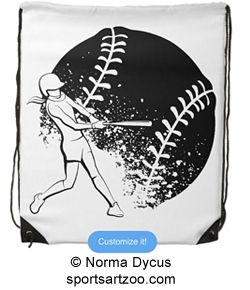 Softball Batter with Grunge Ball Drawstring Bag by #SportsArtZoo #softball #girl #backpack