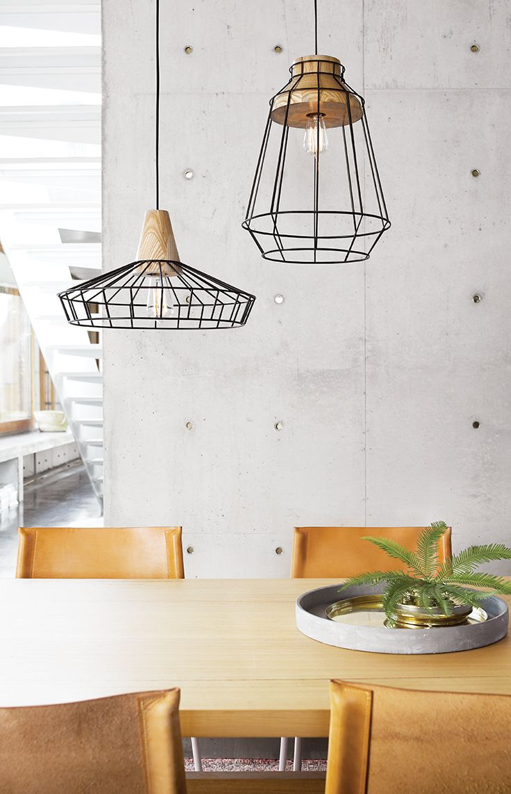 The Beacon Lighting Reuben 1 light large black wire pendant with ash wood detail.