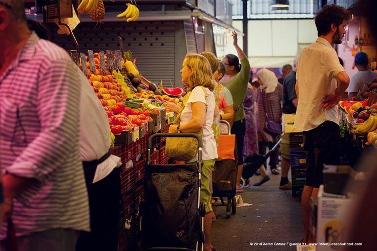 La Boqueria.  Fresh fruits. Urban market in Barcelona, Spain.