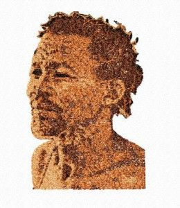 Bushman obličej vyšitý http://www.embroiderydesignsfeathers.com/african-art/