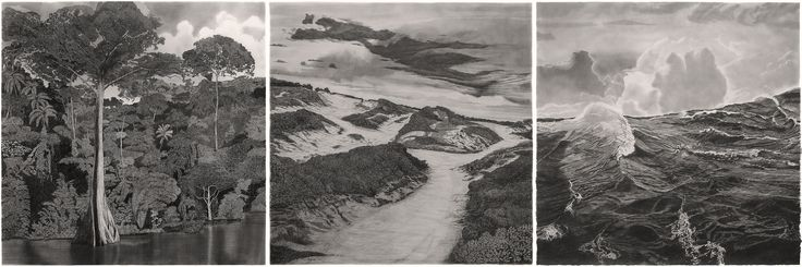 "francisco faria - ""the path from the forest to the sea"" (triptych, 2nd version), 2015-17, graphite on paper 150×550 cm."