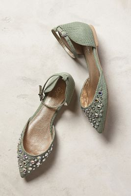 I need cute funky flats. No Bows !!           Seychelles Rule of Thumb D'Orsays Mint Flats. Pretty soft green and details on these flats.