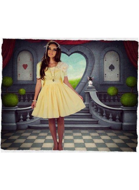 Paper Doll Motif Dress (Lemon)