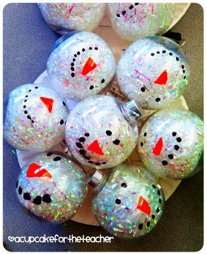 A Cupcake for the Teacher: Cute snowman ornaments for kids to make for parents.
