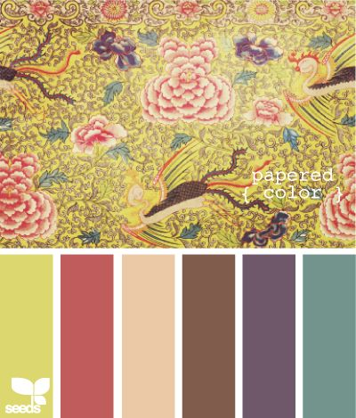 papered color- brown is the wooden floor, dusky teal is the color of the accent walls, the peachy beige is in the kitchen, the lime green, coral and purple are accent colors and the other walls are white.