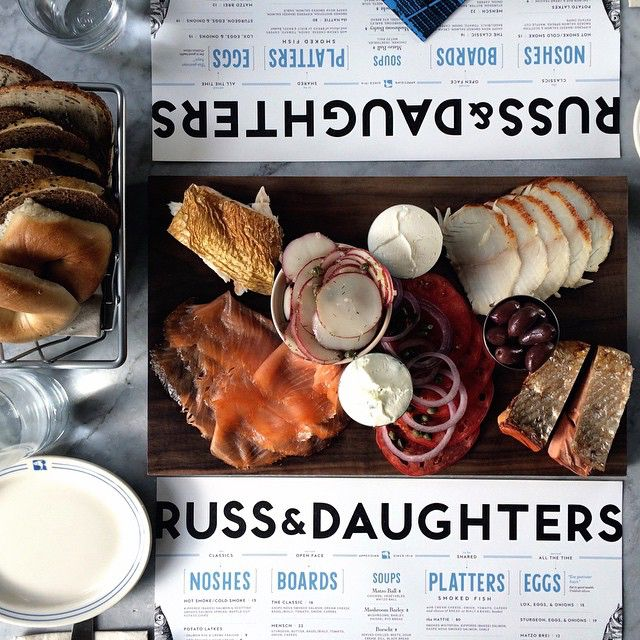 The Hattie Platter, with bread and bagel basket, at Russ & Daughters Cafe. #AppetizingSince1914