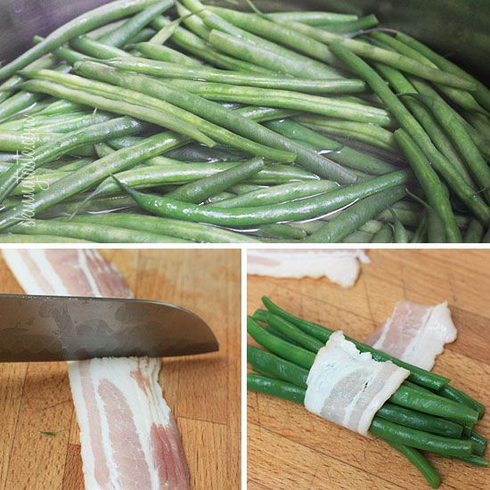 Bacon Wrapped Green Bean Bundles | Skinnytaste.... With some turkey bacon, yum yum!