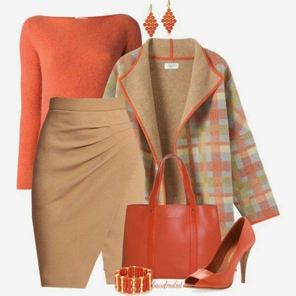 Bello. Work fashion attire orange and neutral