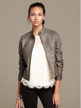 Womens Taupe Leather Jacket | Outdoor Jacket