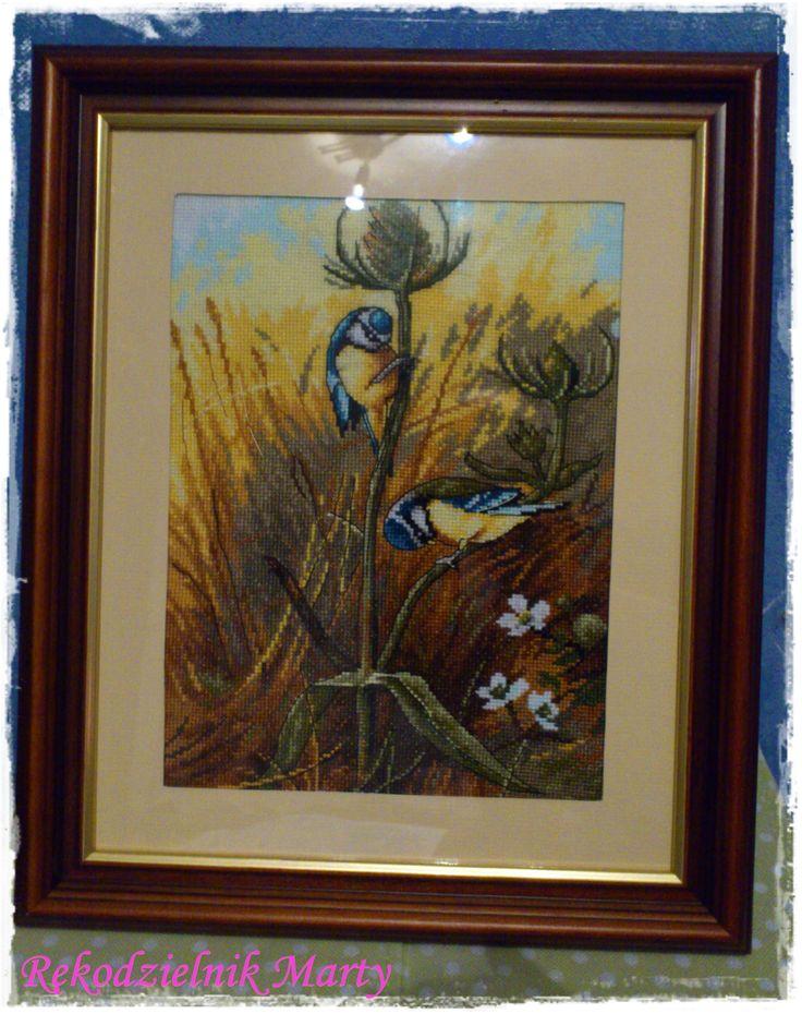 """Wyhaftowany obraz Archibalda Thorburna """"Sikorki na oście"""""""