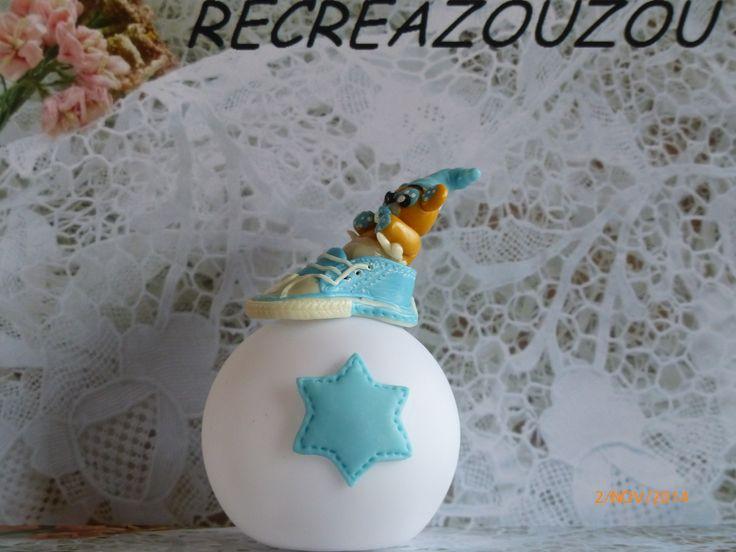 RESERVEE veilleuse à led décorée d'un nounours dans une basket en porcelaine froide fait main : Luminaires par recreazouzou