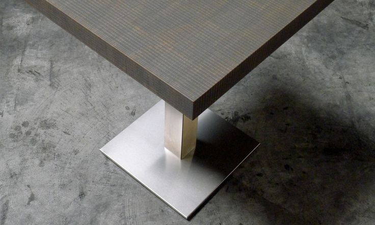 Cassandra Table for interior - contract use Textured wood top and stainless steel base