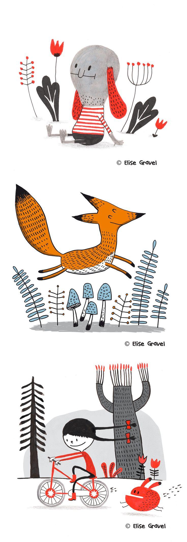 Elise Gravel illustration • Fox • dog • cute• red • black • kids • children • art • character • design • Girl • bicycle • monster