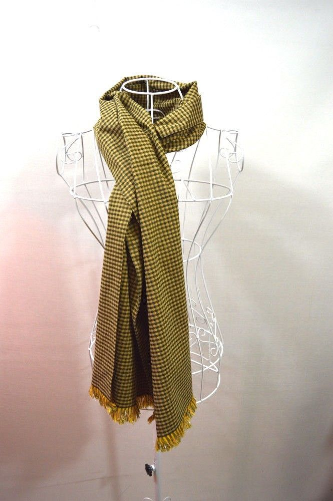 Large Green and Yellow Scarf 1.75 m Long Double Layer #E #Scarf