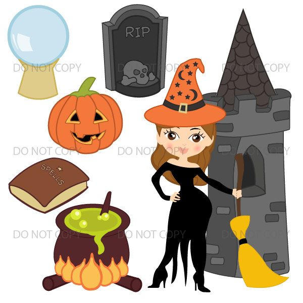 Halloween Clipart, Cute Halloween Graphics, Witch Pumpkin Images for Scrapbook Clip Art Commercial Use RP-142 by ArtAmoris on Etsy