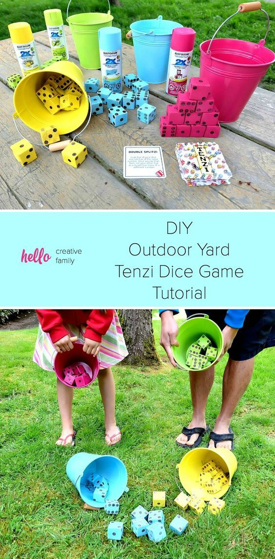 Summer just got a whole lot more fun with this fabulous weekend family project! Create your own set of brightly colored, DIY Tenzi Outdoor Yard Dice Game with the fun #sponsored tutorial using Rustoleum spraypaint!