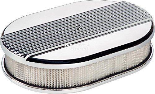 "NEW BILLET SPECIALTIES RIBBED POLISHED ALUMINUM SMALL OVAL AIR CLEANER ASSEMBLY, 11 7/8"" LONG X 8 3/8"" WIDE X 3"" TALL WITH K&N LIFETIME FILTER ELEMENT & STAINLESS STEEL HARDWARE Southwest Speed http://www.amazon.com/dp/B00XWPIU9S/ref=cm_sw_r_pi_dp_7njxvb0A3PWNR"