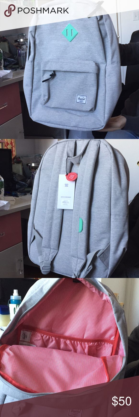 "Herschel 15"" heritage backpack Gray bag with turquoise. New with tags. Never worn/used. Legit Herschel Supply Company Bags Backpacks"