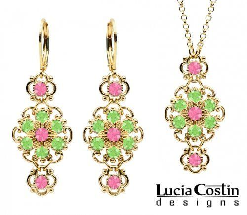 Victorian Style 14K Yellow Gold Plated over .925 Sterling Silver Pendant and Earrings Floral Set Designed by Lucia Costin with Twisted Lines, Set with Pink and Light Green Swarovski Crystals Lucia Costin. $125.00. Set of jewelry by Lucia Costin. Handmade in USA unique jewelry set. Splendid combination of dangle elements. Ornate with rose and peridot Swarovski crystals. Style takes wings in this lovely jewelry set that have a graceful flower shape