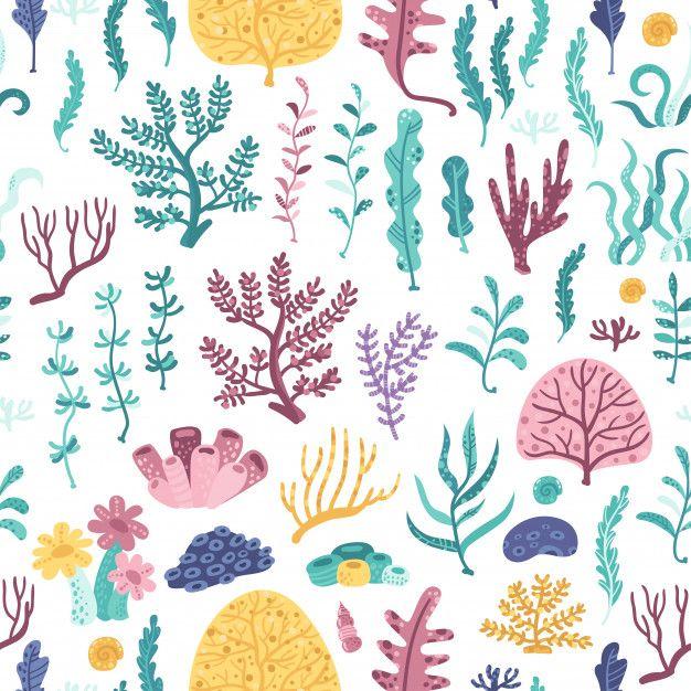 Patrones Sin Fisuras Con Algas Y Corales Premium Vector Freepik Vector Fondo Patron Bebe Agua Coral Fondo De Mar Patrones