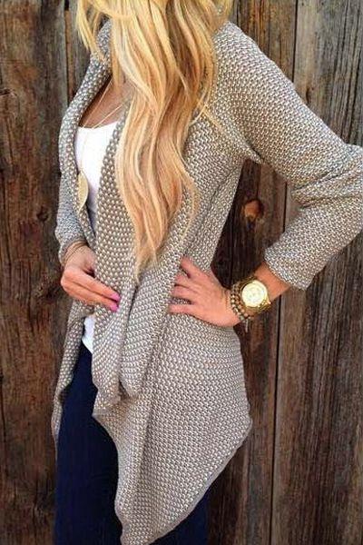Casual Long Sleeves Long Cardigan Sweater