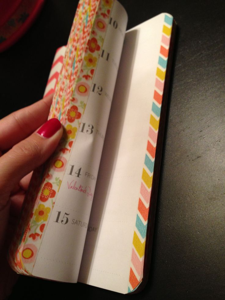 Washi Tape Project: Edge each month of a planner with different tape.