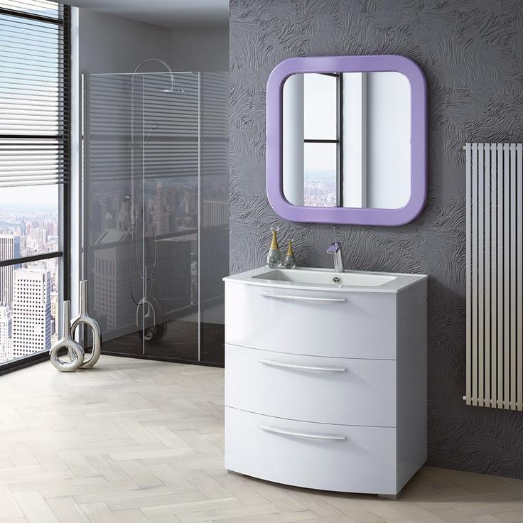 MODELO CURVO EN BLANCO mueble de baño con tres cajones metálicos de