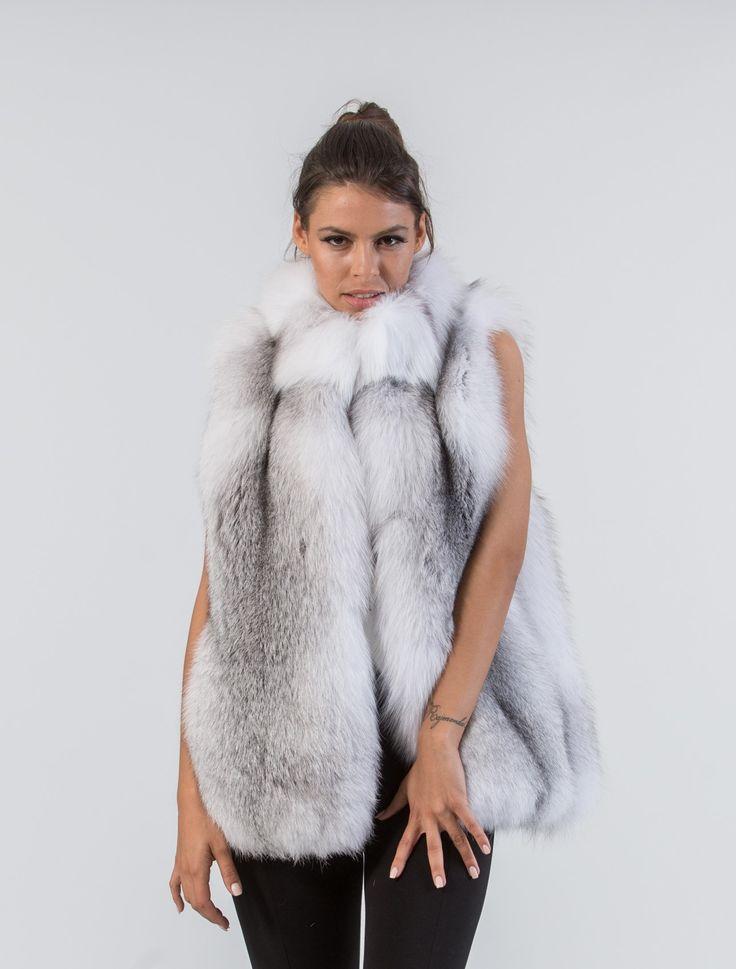 Shadow Blue Frost Fox Vest   #shadowblue #frost #fox #fur #vest #real #style #realfur #naturalfur #elegant #haute #luxury#chic #outfit #women #classy #online #store