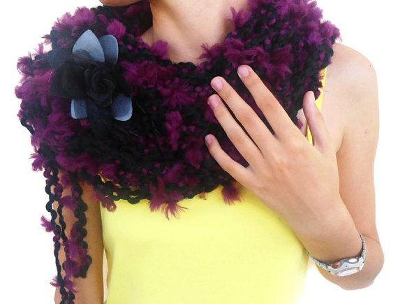 Chunky Cowl Scarf Crochet Loop Scarf Neck Warmer hand