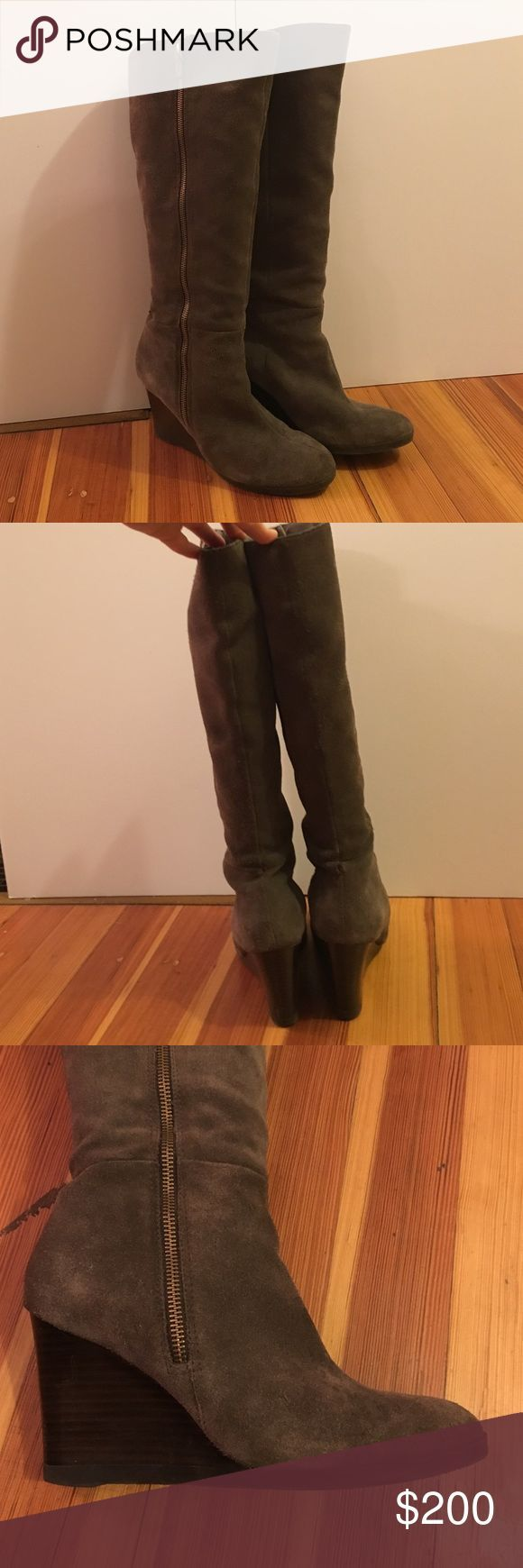 Gray suede knee high wedge boots Gray suede knee high boys who brown wedge heal. Super soft with gold outside zipper detail. Only warn a few times. Shoes
