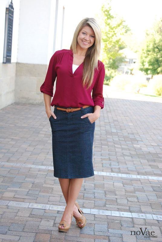 The perfect Denim Pencil Skirt from NoVae Clothing! On sale this week for a special price + FREE Shipping!