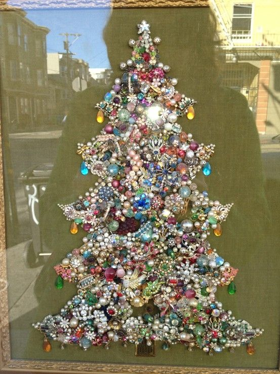 @Pj Scruggs , I remember you wanting an idea of what to do with your moms jewelry, I say this and thought of that. Costume jewelry Christmas Tree