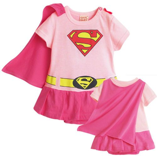 Infant Baby Girls Toddler Fancy Dress Outfit Romper Costume Superman Pink 0 2 Y | eBay