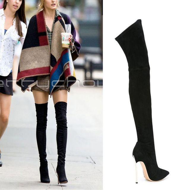Большой размер 2016 новая мода женщин за колено высокие сапоги толстые высокие каблуки обуви платформа бедро высокие осень зима замшевые сапоги