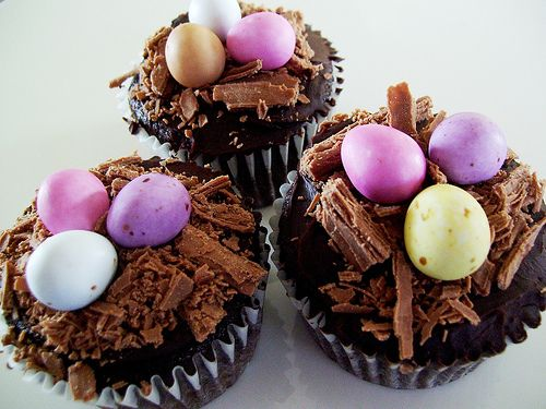 Easter cupcakes - shaved chocolate & mini eggs