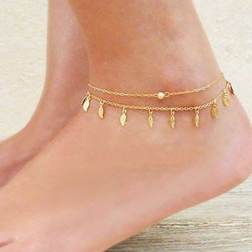 Only $11.99 + Free Shipping in the US! Golden leaf tassel double anklet. This anklet is so gorgeous! Buy yours today at sale price from www.FamilyDeals.store
