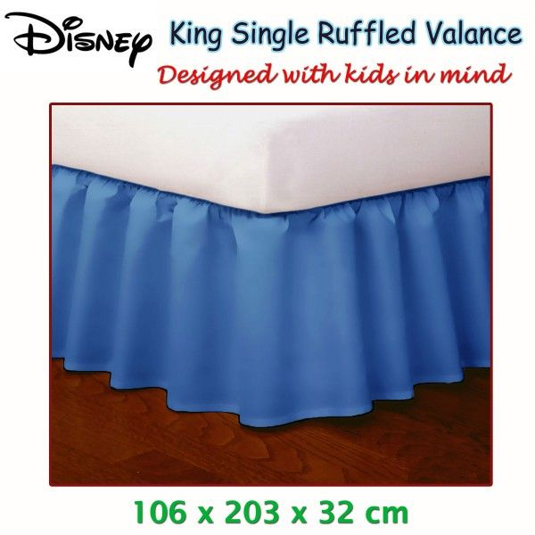 Put an extra color & warmth to your plain bed with Blue Ruffled Bed Valance by Disney.