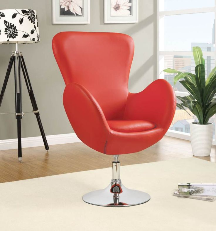 red swivel chair living room