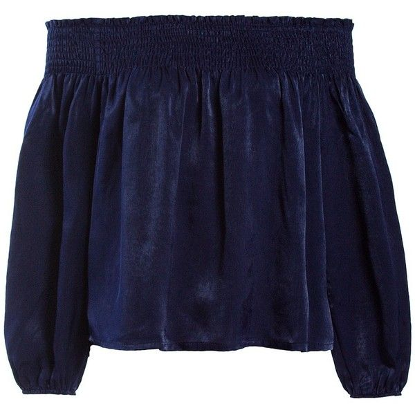 Sans Souci Navy satin smocked off shoulder top (€31) ❤ liked on Polyvore featuring tops, blouses, navy, satin top, blue pullover, navy blue blouse, navy top and navy blue pullover