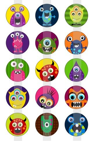 """Monsters 1 - one 4x6 inch digital sheet of 1"""" round images for bottlecaps, magnets, glass tiles, pendants"""