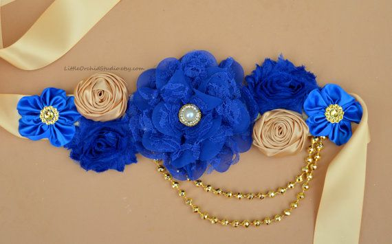 Royal Prince Baby Shower/ Royal Maternity sash/ prince theme/ royal theme/ royal blue gold/ royal blue dress sash/ royal blue maternity sash/ gold sash/ royal blue gold maternity sash/ maternity photo prop/ maternity dress/ royal baby shower/ little prince shower/ gold baby shower/ royal baby by LittleOrchidStudio