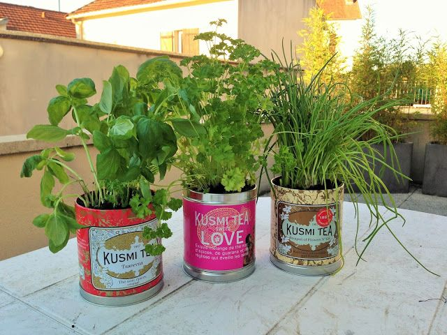 Do it yourself recycler ses boites de th kusmi tea en pot de fleur decorat - Recyclage pot de peinture ...