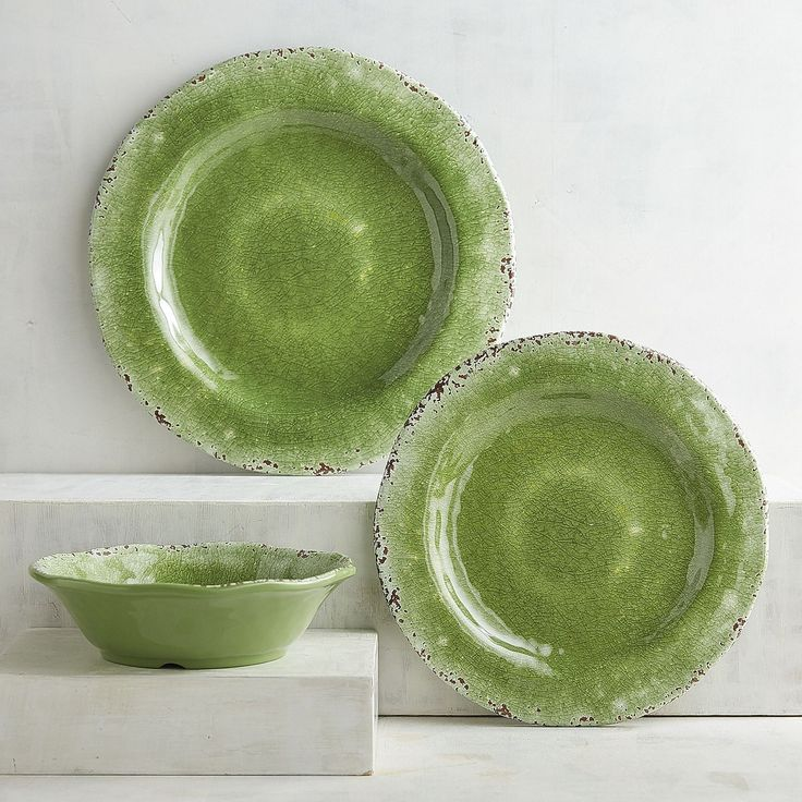 Our pretty green dinnerware can bring a bit of nature's favorite color to your table. It works well with black, white or other bold colors. Crafted in the style of hand-thrown Italian stoneware, our Carmelo Collection is deceptively lightweight. It's melamine, so it's easy to handle and care for. Set it out for an outdoor party, indoor dinners or just for everyday use.