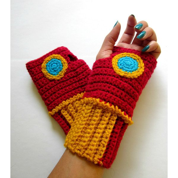 The Original Iron Man Inspired Power Wristees. Wristwarmers. Superhero... ($41) ❤ liked on Polyvore featuring men's fashion, men's accessories, men's gloves, gloves and mens fingerless gloves