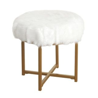 Shop for HomePop Faux Fur White Round Stool. Get free shipping at Overstock.com - Your Online Furniture Outlet Store! Get 5% in rewards with Club O!