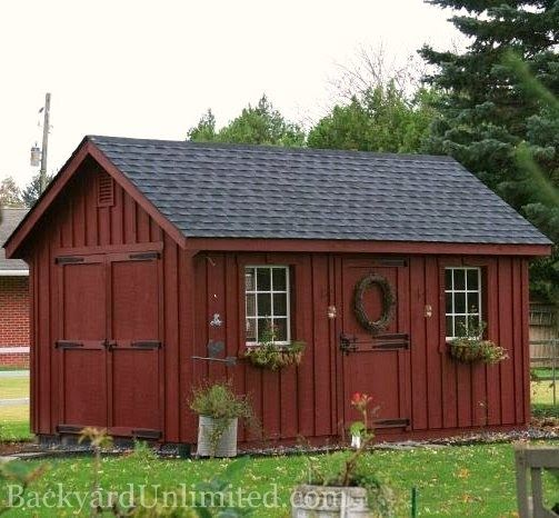 10'x16' Garden Shed with Painted Board & Batten Siding, 9-Lite Wood Windows, Additional Single Dutch Door, Flower Boxes and Gable Vents http://www.backyardunlimited.com/sheds.php