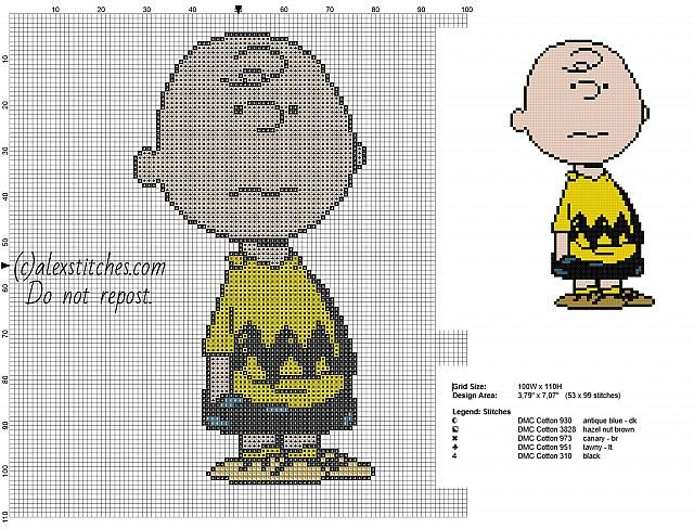 Charlie Brown Peanuts character free cross stitch pattern