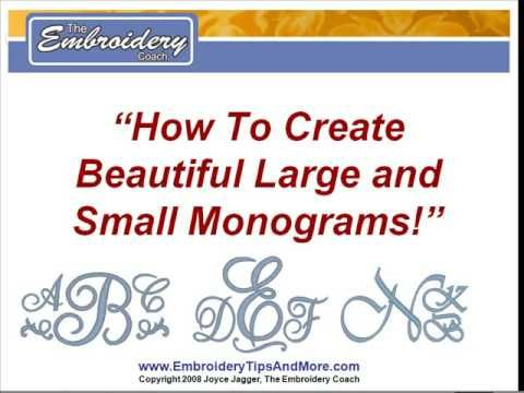 How To Create Monograms: video program DVD teaching you how to create beautiful large & small monograms using your standard fonts in your embroidery software. I am using the Tajima by Pulse software