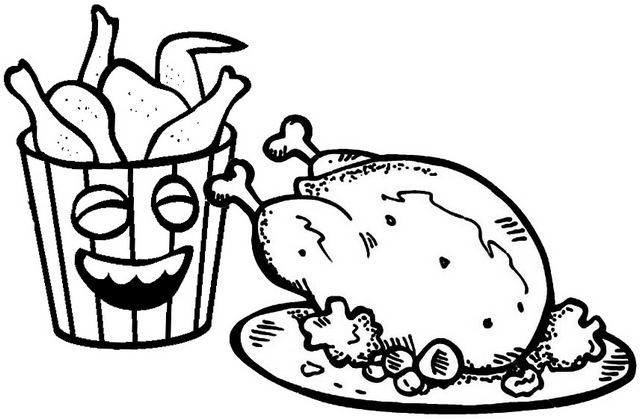 Fried Chicken In Stripes Bucket Box Coloring Page Of Oven Fried Chicken Food Coloring Pages Oven Fried Chicken Chicken Coloring